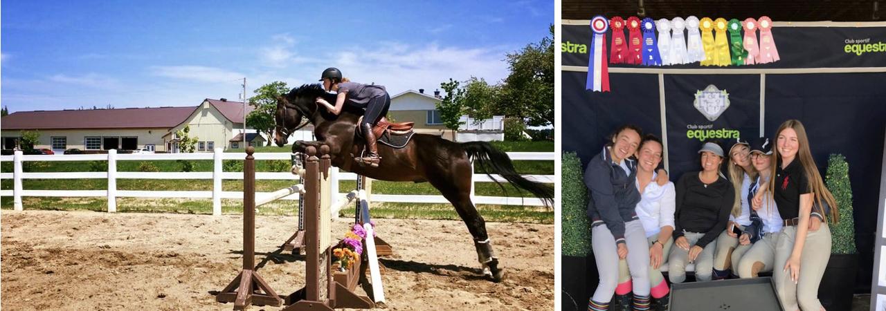 Cavalier et cheval effectuant un saut lors d'un concours hippique